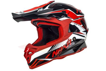 Kask cross enduro Naxa C9 biało czarno czerwony XL