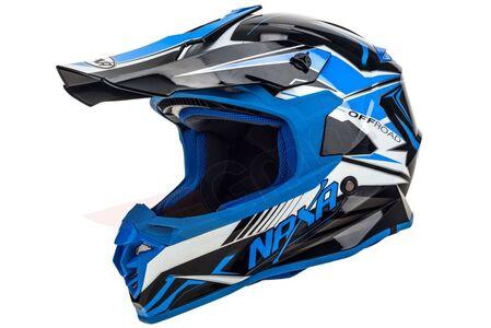 Kask cross enduro Naxa C9 biało czarno niebieski XS