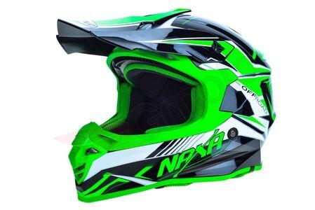Kask cross enduro Naxa C9 biało czarno zielony XL