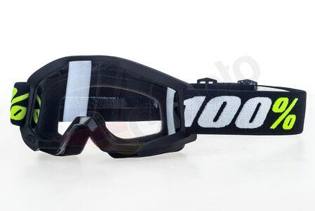 Gogle motocyklowe 100% Procent model Strata Mini Black dziecięce kolor czarny szybka przeźroczysta anti-fog